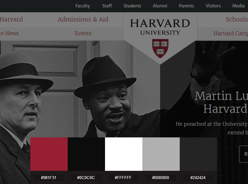 harvard colour palette