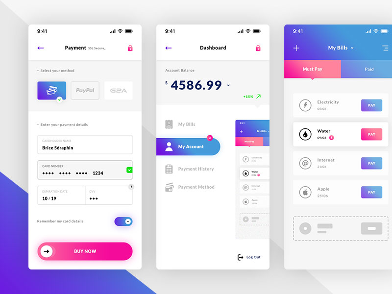 Payment Method, Dashboard & Bills. IOS App - UI Kit #Freebies